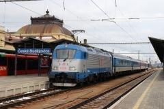 """ČD 380.007 mit Ex 531 """"Jižní expres"""" in České Budějovice"""